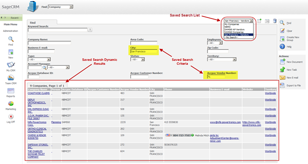 Sage CRM Saved Search
