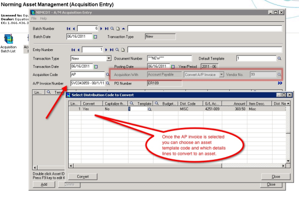 Accpac Accounts Payable integration with Asset Management
