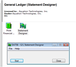 Accpac General Ledger Statement Designer