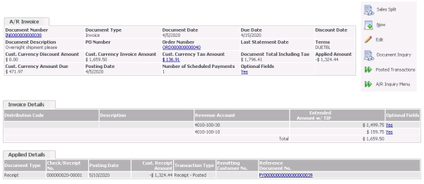 Sage CRM - Accpac Accounts Receivable Invoice Lookup