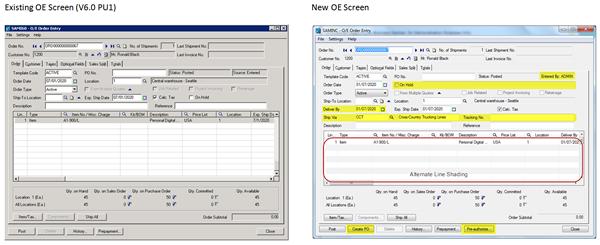 Sage 300 ERP 2012 OE Screen