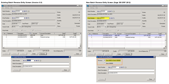 GL Batch Reversal Entry screen comparison Sage ERP Accpac V6.0 vs Sage 300 ERP 2012
