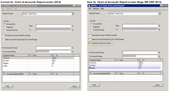 GL Chart of Accounts report screen comparison Sage ERP Accpac V6.0 vs Sage 300 ERP 2012