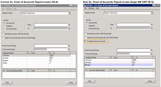 GL Chart of Accounts report screen comparison Sage ERP Accpac V6.0 vs Sage 300 ERP 2012