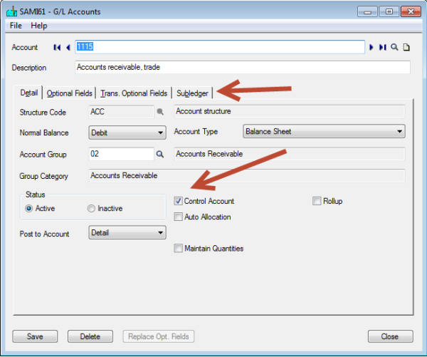 Sage 300 Control Accounts