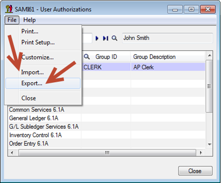 Sage 300 ERP - Authorization List
