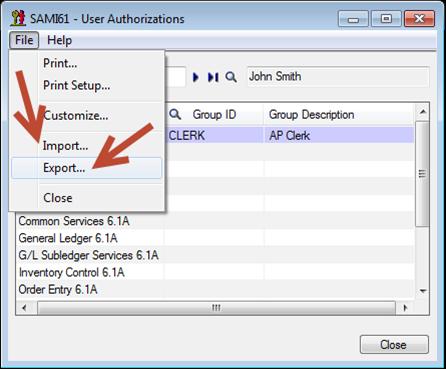 Sage 300 ERP - Authorization List