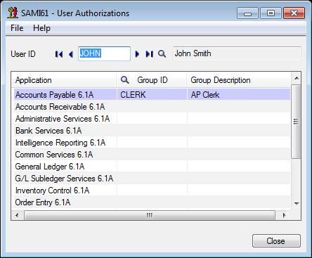 Sage 300 ERP - User Authorization Form
