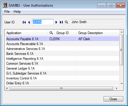 Sage 300 ERP - User Authorization Form
