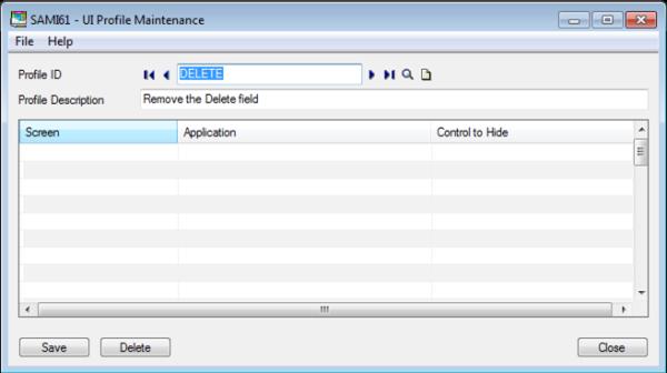 Sage 300 ERP - UI Profile Maintenance