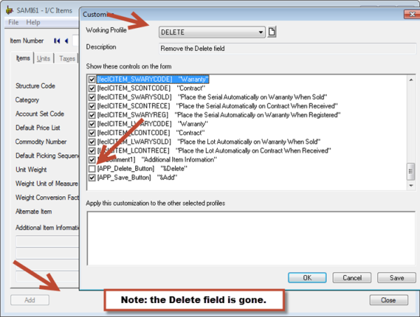 Sage 300 ERP - Deleted Field