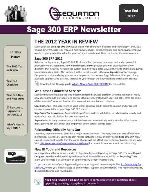 Sage 300 ERP Newsletter - Q1 2013