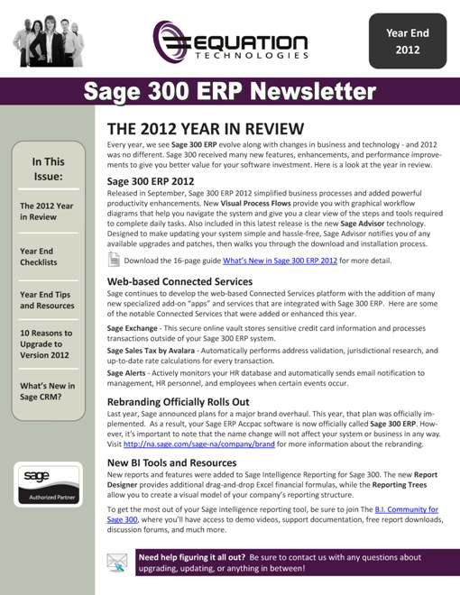 Sage 300 ERP Newsletter - Year End 2012