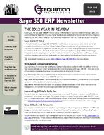 Sage 300 ERP Newsletter - Year End 2012