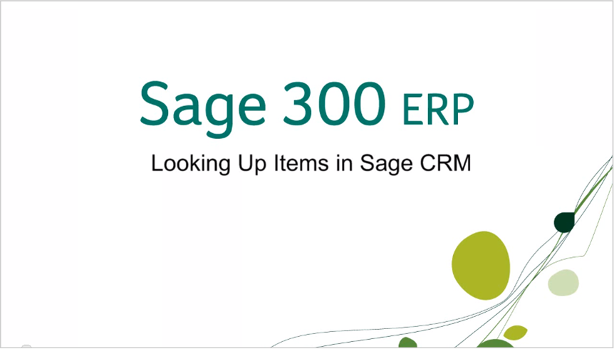 sage 300 erp looking up items in sage crm