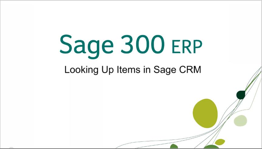 sage 300 erp looking up items in sage crm
