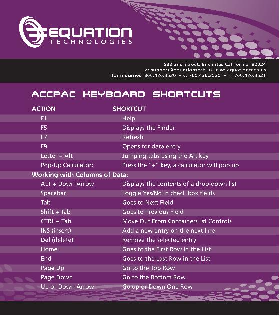 Sage 300 ERP Navigation Shortcuts