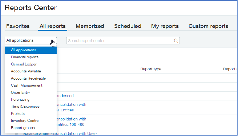 Intacct Reporting Dashboards