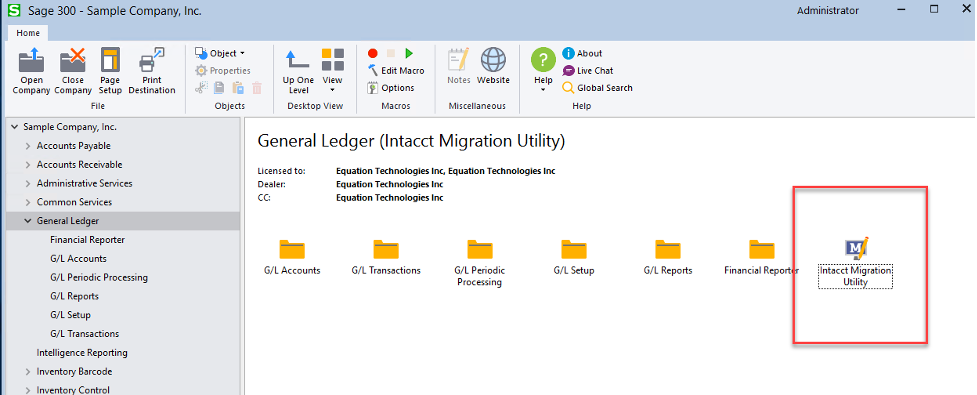 Sage 300 Intacct Migration Utility