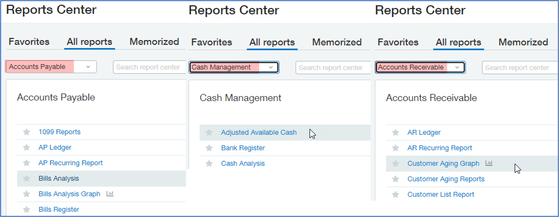Sage Intacct Reporting Dashboards