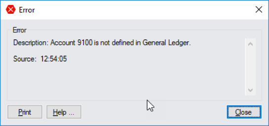 Sage error account number is not defined