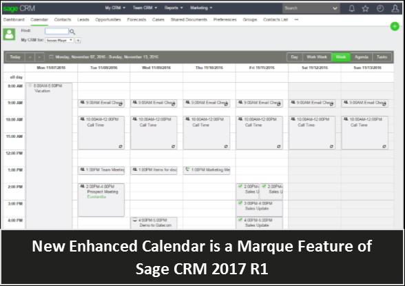 Enhanced Sage CRM Calendar 2017