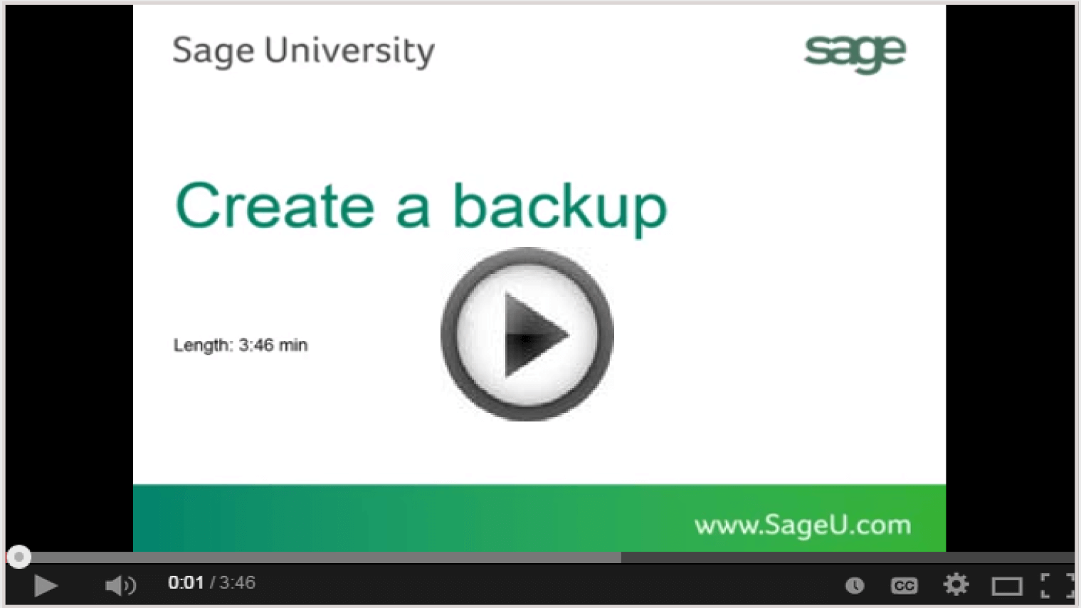 How to create database backup in Sage 300