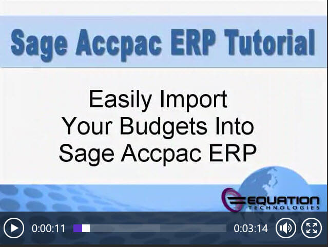 Sage Accpac Importing GL Budget