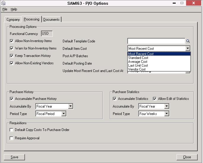 PO Options screen