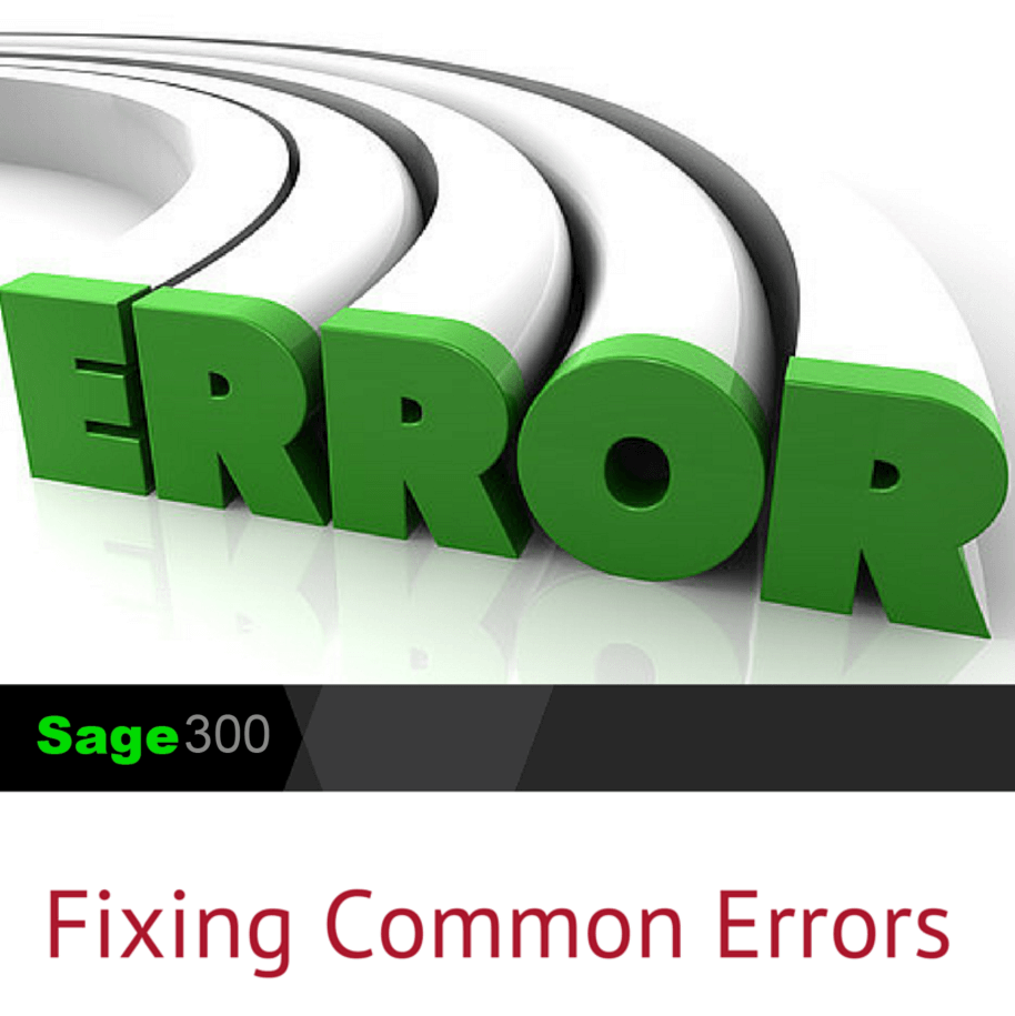 Fixing Sage 300 common errors