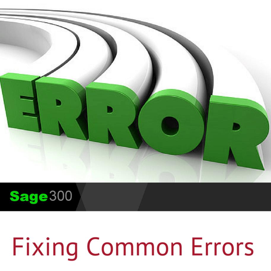 Fixing Sage 300 common errors