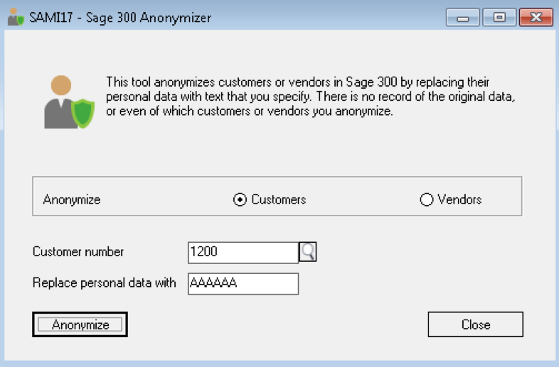 GDPR Sage 300 Anonymizer