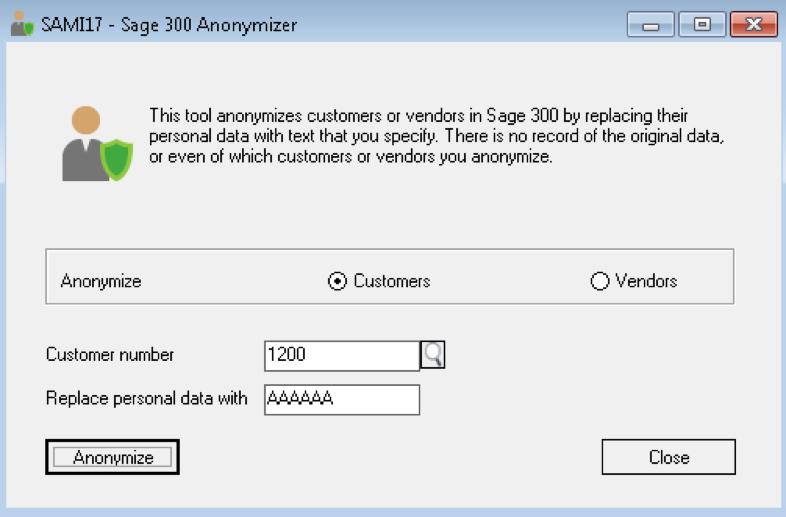 GDPR Sage 300 Anonymizer