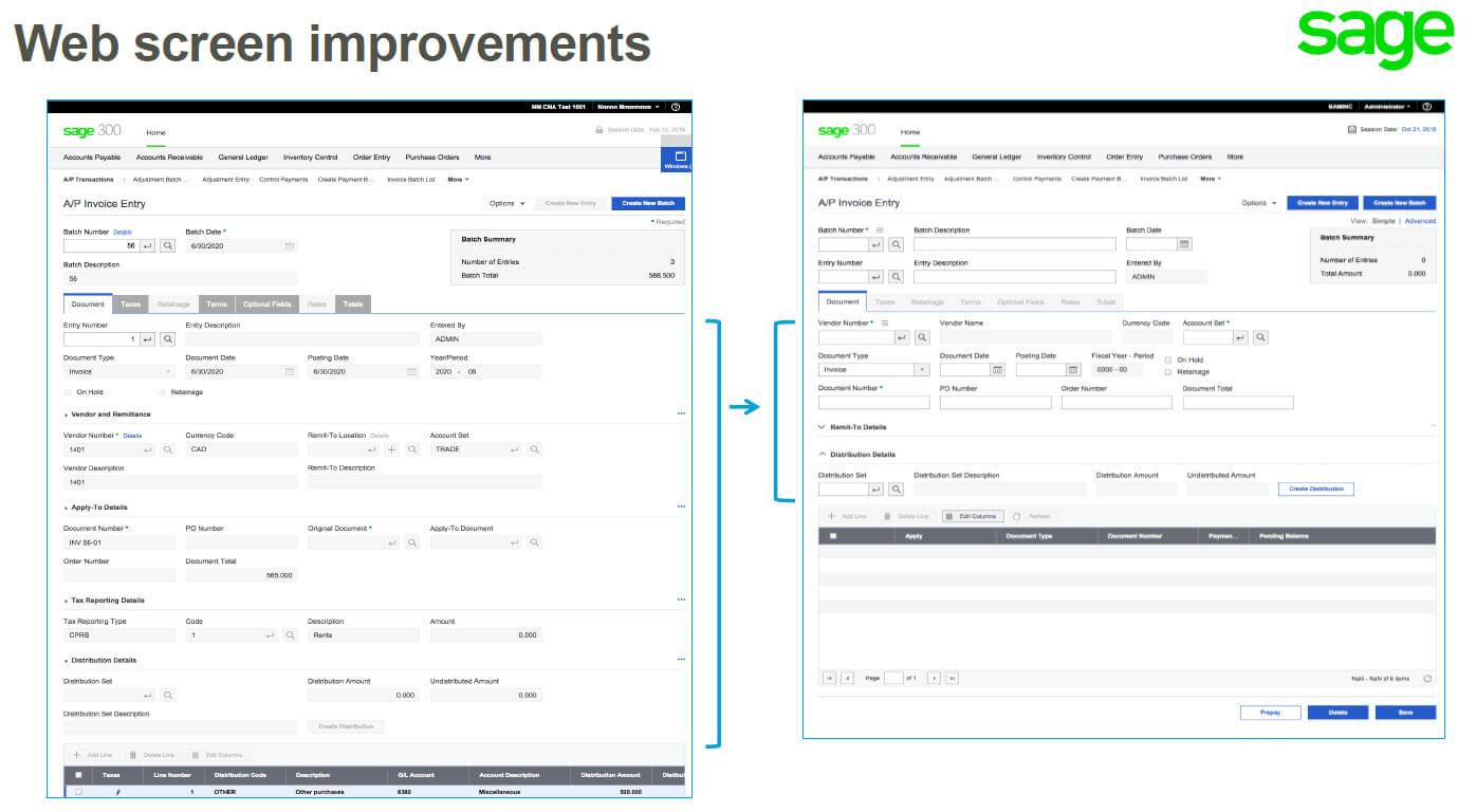 Sage 300 2017 - Web Screen Improvements